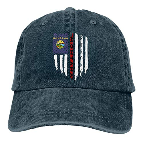Flag of Montana Strong Unisex Baseball Cap Cowboy Hat Dad Hats Trucker Hat Navy