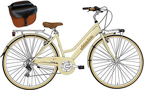 Cicli Adriatica Bicicletta PANAREA Donna 28'' Shimano 6V Panna + Borse