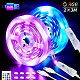 LED-Strip, 6M USB LED Streifen 2 X 3M SHINELINE RGB LED Band 5050SMD Lichtband mit 24 Tasten...