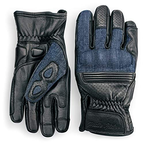 Denim & Leather Motorcycle Gloves (Black) with Mobile Phone Touchscreen by Indie Ridge (Large)