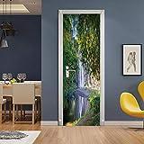 FDASLJ Adesivi per Porte Porta 95x215CM Bellissimo Lago e Cascata Poster Adesivi per Porte 3D in PVC Adesivo per Porta, Home Porta Pellicola Decorativa Carta Autoadesiva