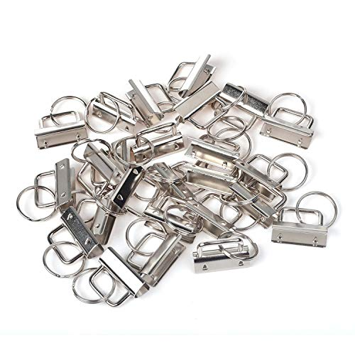 40Pcs Key Fob Hardware, Creatiee Metal Wristlet Sets with Key Rings (1.25 Inch)