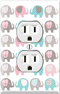 Switch Plate Outlet Cover Pink Elephants Baby Elephants Elephants Plaid
