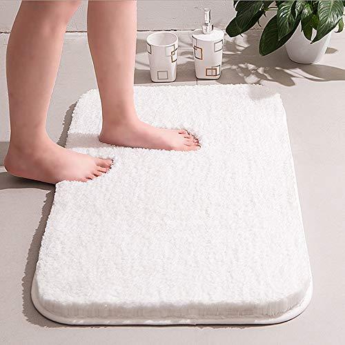 RiyaNed Rutschfester Badezimmerteppich, weicher und Flauschiger Badezimmerteppich, maschinenwaschbar, leicht zu reinigen, super saugfähig, geeignet für Badewanne, Dusche und Bad(Weiß, 40x60cm)