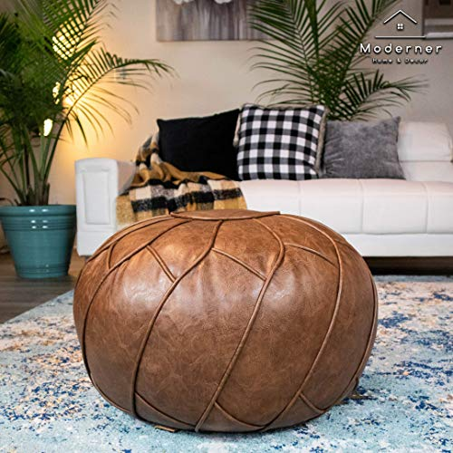 Moderner Faux Leather Pouf Unstuffed Ottoman Moroccan Footstool, Floor Footrest Cushion, Storage Solution - Natural Brown Color (Mocha, 23x11)