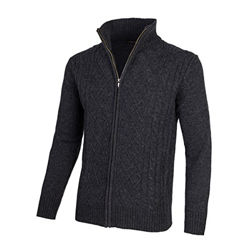 VOBOOM Mens Casual Stand Collar Cable Knitted Zip Cardigan Sweater Jacket (Dark Grey, L)
