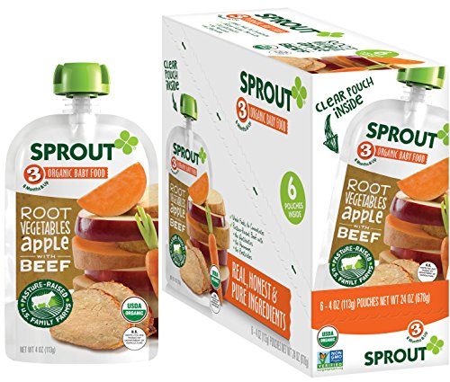 Sprout Organic Baby Food Pouches Stage 3, Organically Sourced Meat Protein, Root Vegetables Apple w/ Beef, 4 Ounce (Pack of 12)