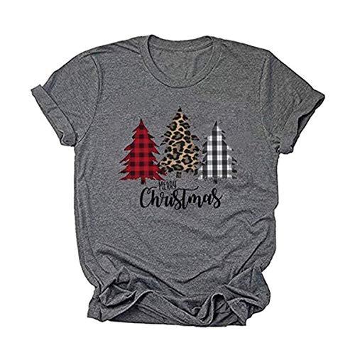 DORFALNE Womens Merry Christmas Tree Leopard Plaid Printed T-Shirt Short Sleeve T-Shirts Tops Dark Gray