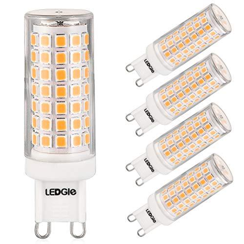 LEDGLE 5 x G9 LED Lampadine del 8W Nessun Sfarfallio, 88-LED SMD2835, Angolo di Fascio di 360 ° 700 Lumen Pari ad Alogene da 80W per l'illuminazione Lnterna 3000K-Bianco Caldo