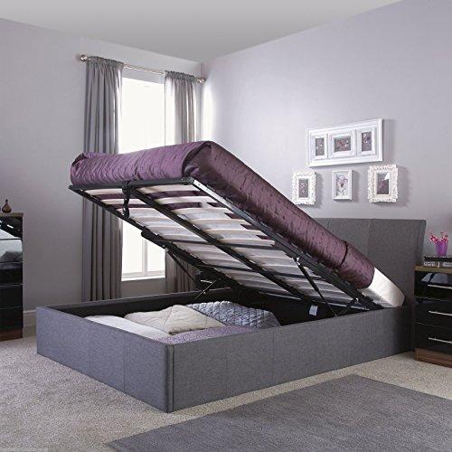 HF4YOU Ascot cornice di sollevamento a gas, per letto–-imbottita in tessuto nero–1000Pocket memory materasso, Similpelle, Grey, matrimoniale 140 cm