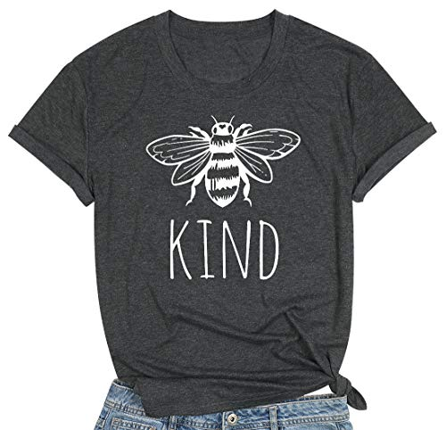 Bee Kind T Shirts Women Funny Inspirational Teacher Fall Tees Tops Cute Graphic Blessed Shirt Blouse (XL, Gray)