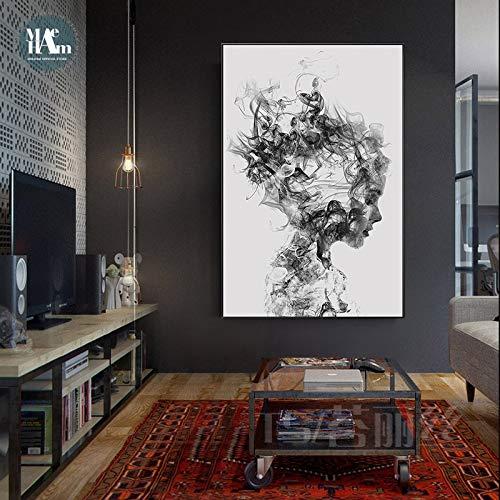 tzxdbh handgeschilderde abstracte rook figuren lijn muurkunst canvas schilderij print zwart wit poster voor woonkamer minimalistische decoratie 50X70cm No Frame 5