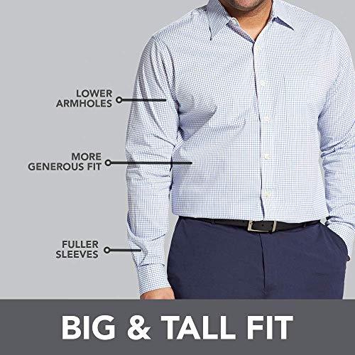 Van Heusen Men's Size Big Traveler Stretch Long Sleeve Button Khaki/Grey Shirt, classic black, 3X-Large Tall