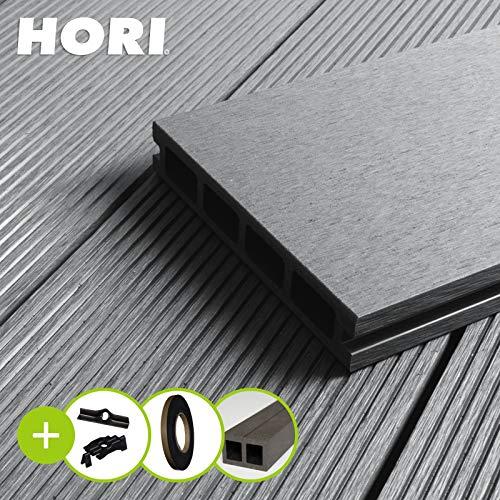 HORI® WPC-Terrassendiele Kuba grau Hohlkammer I Komplettset inkl. 40x60 mm Unterkonstruktion & Clips I Fläche: 5 m² I 2,30 m Dielenlänge