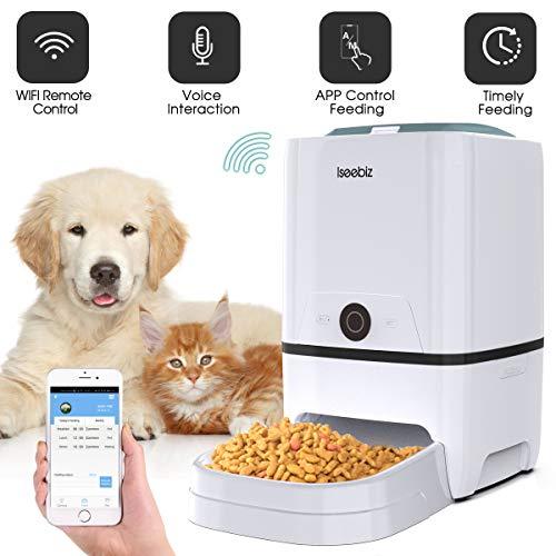 Iseebiz WiFi Automatischer Futterspender, ca. 6L Futterautomat für Hund und Katze, Automatic Pet Feeder mit Ton-Aufnahmefunktion Speicherfunktion, bis zu 6 Mahlzeiten am Tag
