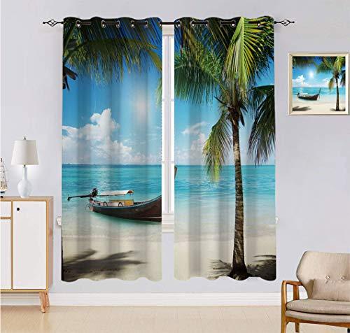 Cortina hecha a medida con diseño de palmas de coco verde, pequeño barco de pesca en el océano Atlántico con fotos dominicanas, 2 paneles, cada panel de 152 cm de ancho x 222 cm de largo