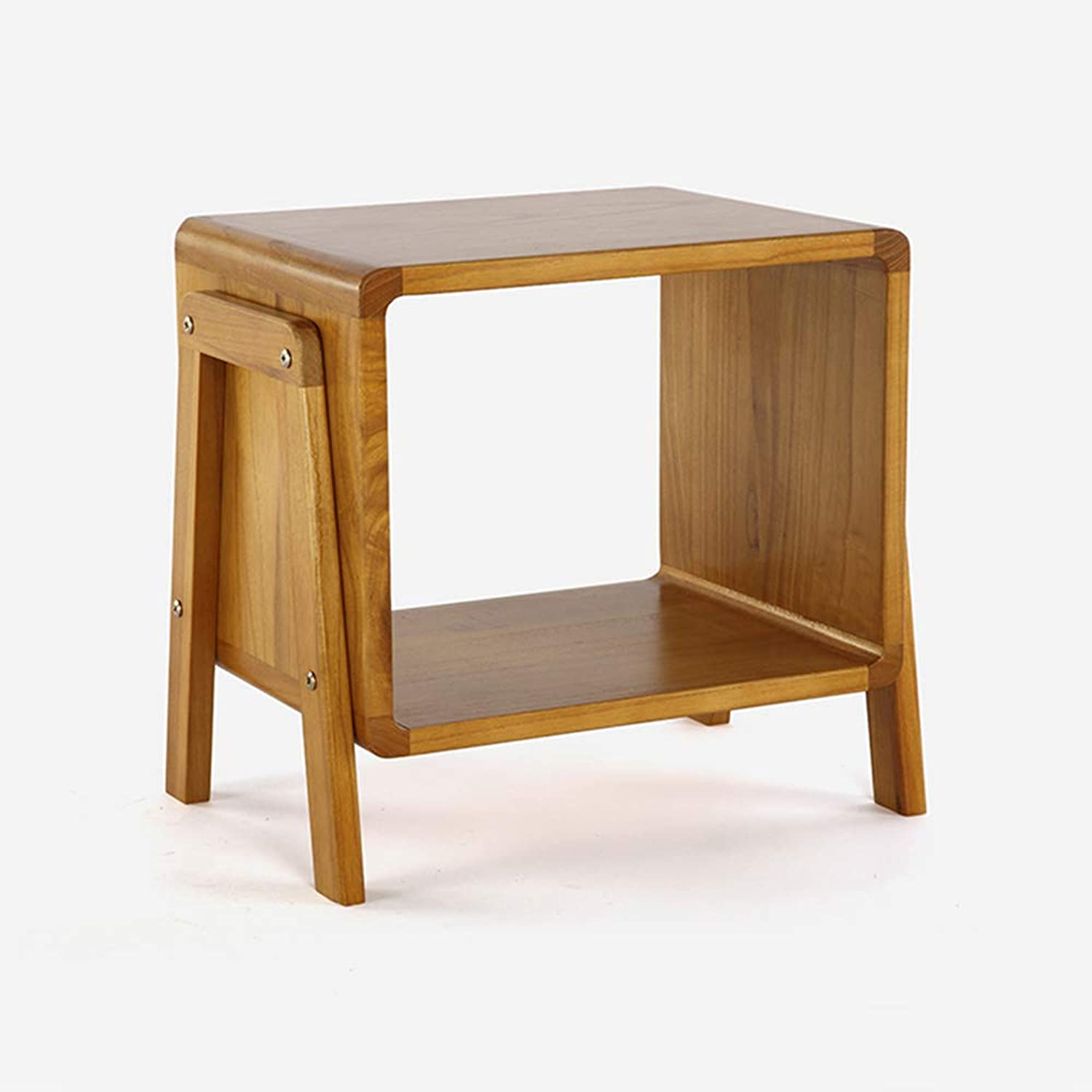 Small Coffee Table Creative Side Table Solid Wood Multi-Functional Low Coffee Table 2 colors (color   Light Brown)