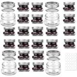 24 PACK, Mason Jars 4 oz With Regular Silver Lids and Bands, Ideal for Jam, Honey, Wedding Favors, Shower Favors, Baby Foods, DIY Magnetic Spice Jars, 24 Whiteboard Labels Included