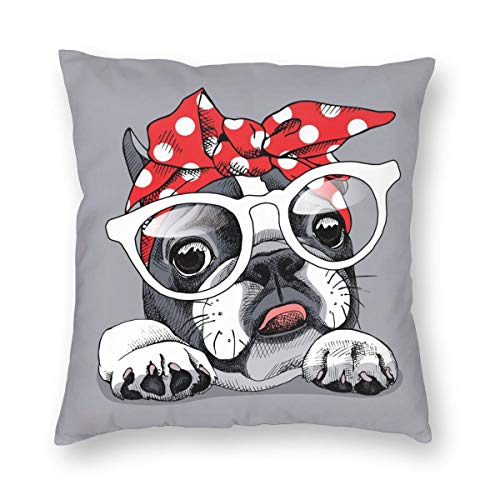 French Bulldog Wearing Headband and Glasses Throw Pillow Covers 18X18 inches Cartoon Cute Animal Pillowcase Comfortable and Esay-to-Clean Home Decoration Pillowcover Living Room Bedroom