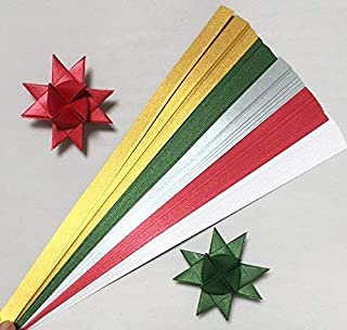 Paper Strips for Weaving Projects. Paper Strips for Moravian Stars, German Stars and Frobel Stars. Christmas Mix Colors. 100 strips per pack. 5/8 inch x 19 inch in Size