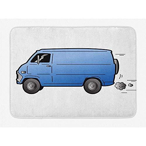 Anna-Shop Transport badmat, Cartoon Art Style afbeelding oude retro cargo van Automobil snel gaan, pluche badkamer decoratiemat met anti-slip achterkant, 29,5 x 17,5 inch