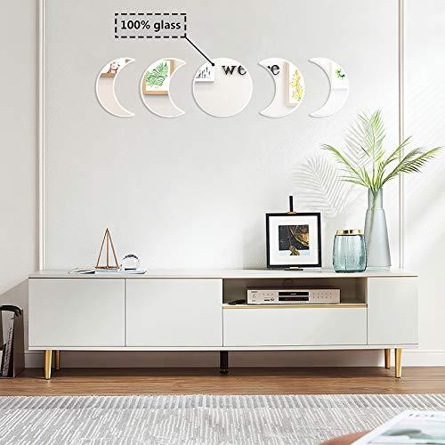 OCIOLI Espejo de pared de cristal con fase lunar bohemio, espejo de pared escandinavo, decoración natural, espejo de luna decorativo para sala de estar, dormitorio, entrada
