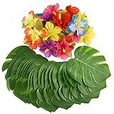 KUUQA 60 Stück Tropical Party Dekoration liefert 8 'Tropical Palm Monstera Blätter und Hibiskusblüten, Simulation Blatt für hawaiische Luau Party Jungle Beach Thema Tischdekoration