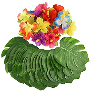 KUUQA 60 Pcs Wrinkle Prevention Flowers and Tropical Leaves for Tropical Party Decorations Supplies, Artificial Hibiscus Flowers Tropical Palm Leaves for Hawaiian Safari BBQ Luau Party Decorations