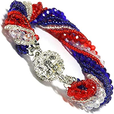 "AnsonsImages 7.5"" Red White Blue Clear Crystal Beads Magnetic Ends Rhinestone Bracelet"