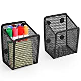 2 Pack Magnetic Pencil Holder Extra Strong Magnets Mesh Marker Holder Generous Compartment Perfect for Whiteboard, Refrigerator and Locker Accessories