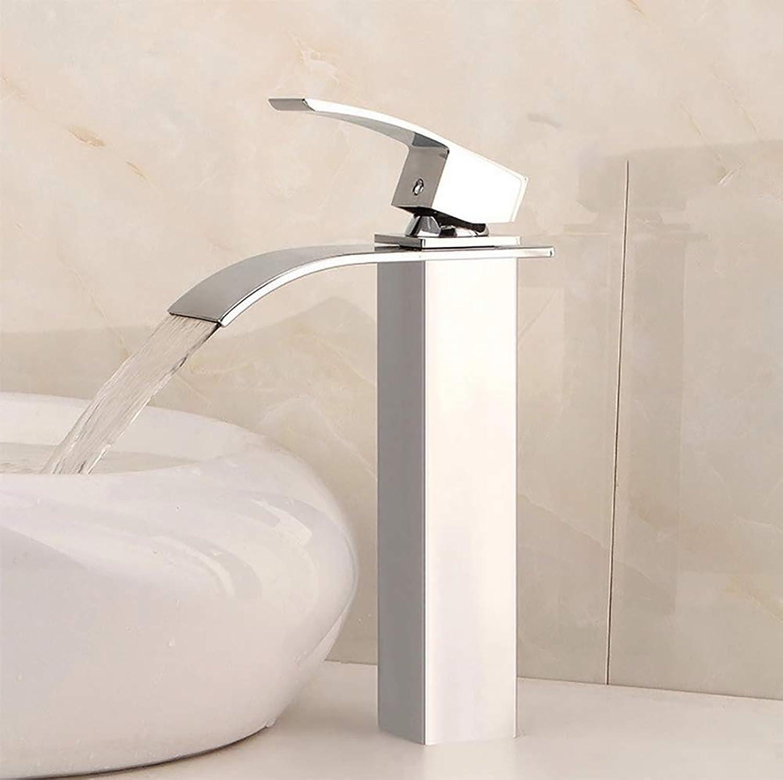 Waterfall Single Handle Bathroom Sink Faucet, Brushed Nickel Rectangular - Suitable For Bathroom, Copper Material