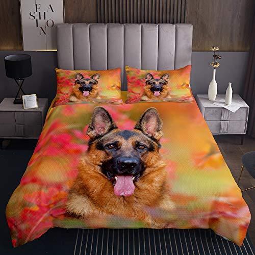Loussiesd Juego de colcha acolchada de pastor alemán para perros Kawaii Pet Dog Hippie Puppy Colcha para niños adultos 3D Animal Tema acolchado ultra suave decoración de habitación tamaño King
