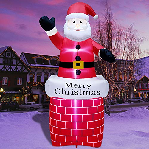 ATDAWN 7 ft Christmas Inflatable Santa Claus in Chimney, Blow Up Santa Claus, Inflatable Christmas Holiday Outdoor Lawn Yard Garden Decorations