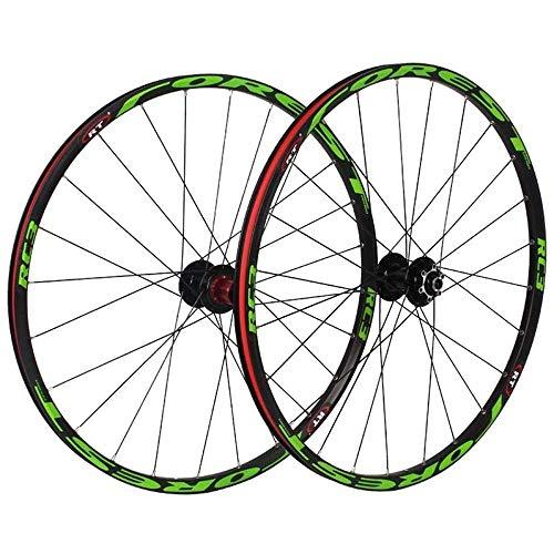 TYXTYX Rueda de Bicicleta MTB 26/27.5 Pulgadas Ruedas de Bicicleta de montaña, Juego de Freno de llanta de Disco 8 9 10 11 velocidades Buje de rodamientos sellados Bicicleta híbrida Touring, Verd