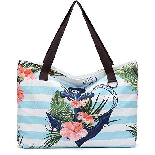JANSBEN Große Strandtasche mit Reißverschluss Badetasche XXL Shopper Schultertasche Beach Bag fur Damen Herren (Green Leaf)