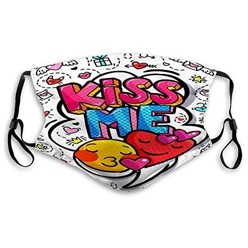 Mund Gesicht für Kidteenmen Frauen Kisme Word Bubble Nachricht Pop Art Comictyle Hand gezeichnet Heartkisme Word Bubble Psychedelic