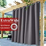 Porch Grey Outdoor Curtains Waterproof - Extra Wide 100-inch Patio Door Blackout Curtain