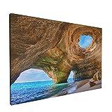 Sin Marco Mural Impresiones en Lienzo,Cuevas del Algarve Portugal Pequeña Playa Grandes Cuevas,Oficina en Casa Decoración Mural Pintura al óleo Arte de Moda,18' x 12'