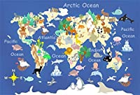 Amxxy 5x3ft漫画キッズマップ写真背景フラットワールドグローブ動物教育学校地理大陸写真背景スタジオ小道具
