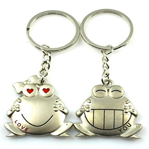 4EVER Romantic Stainless Alloy China National Treasure Animal Pandas Couple Keychain Pendant Gift Boxed Lovely Lovers Sweetheart Key Ring Chain Best Gift for Valentine's Day Wedding Anniversary (A Pair)