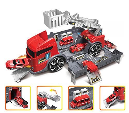 Brigamo Action Coche de bomberos con túnel rampa de arranque en camión, 35 cm