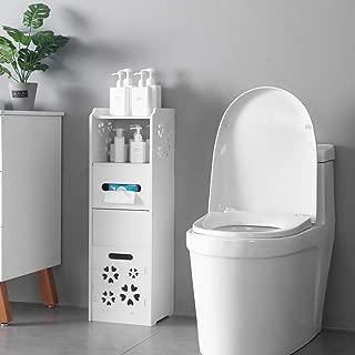 SSLine Slim Bathroom Cabinet Free Standing Corner Toilet Storage Chest 3-Tier Narrow Bath Cabinet Paper Holder Organizer with Door and Shelf - White