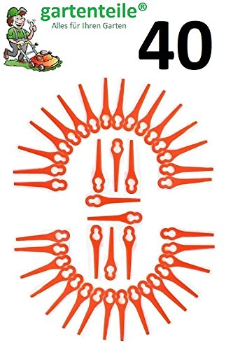 40 Ersatz Messer passend für Güde RT 250/18 Li Ion Akku Rasentrimmer/Messer/Messerchen/Plastikmesser/Trimmermesser