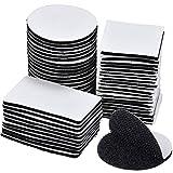 50 Pares Pad Adhesivo Doble Cara Negro, Cintas Adhesivo Tela Redondo para Sofás de Tela, Sábanas, Vidrio, Muebles Madera - Redondo/Cuadrado/Rectangular