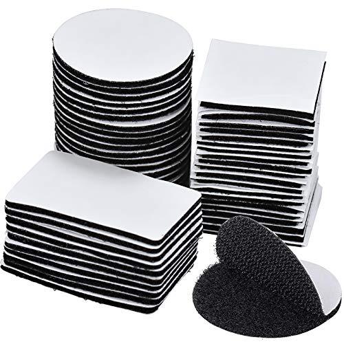 50 Pares Pad Adhesivo Doble Cara Negro, Cintas Adhesivo Tela Redondo para Sofás de Tela, Sábanas, Vidrio, Muebles Madera - Redondo Cuadrado Rectangular