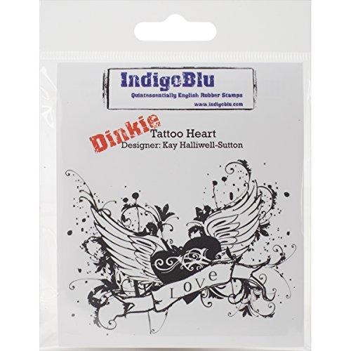 IndigoBlu zelf gemonteerde stempel 7,6 x 7,6 cm -tattoo hart