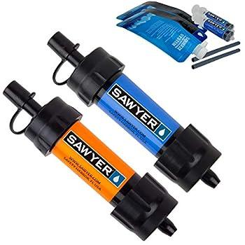 Sawyer Products - Filtre d'eau pour randonnée, accessoire camping, trekking MINI set de 2 (Bleu-Orange)