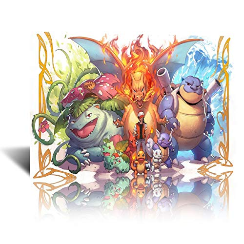 Bulbasaur Charmander and Squirtle Japanese Anime Poster Canvas Paintings Beautiful Decorative Home Decor Pictures Modern Artwork Prints for Living Room Bedroom (12x18 Inch,framed)