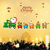 クリスマス 窓飾り ステッカー クリスマストレイン新年児童室ベッドサイドウィンドウの装飾ウォールステッカーガラス窓のステッカー 雪の結晶 クリスマスツリー スノーフレーク (Color : Photo Color)