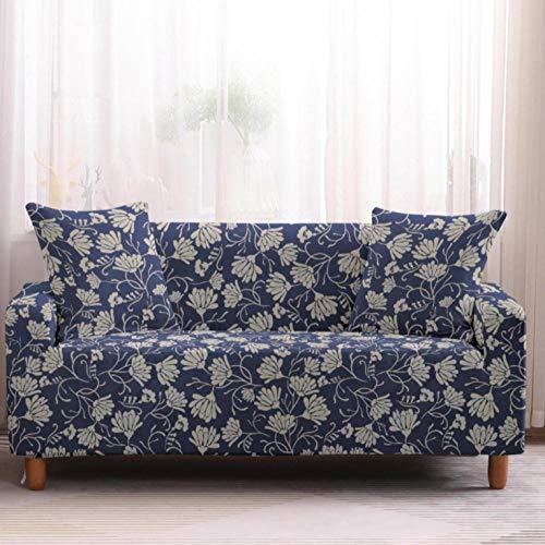 Protector de sofá con Hojas Azules Blancas Estampado,Fundas de Sofá Elasticas de 3 Plazas,Poliéster Suave con Funda elástica,Antideslizante Protector Cubierta de Muebles